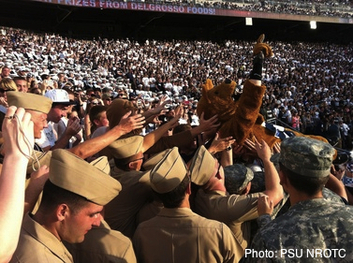 Midshipman enjoying a PennState Lions game